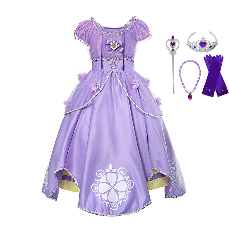 Sofia Princess Dress Kids Cosplay Costumes Girls New Arrival: VOGUEON Princess Sofia Dress Up Costume Cosplay Dress For