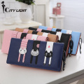 CITY LIGHT New arrival fashion women wallet Modern cat stitching zipper long wallets three cat lady purse clutch