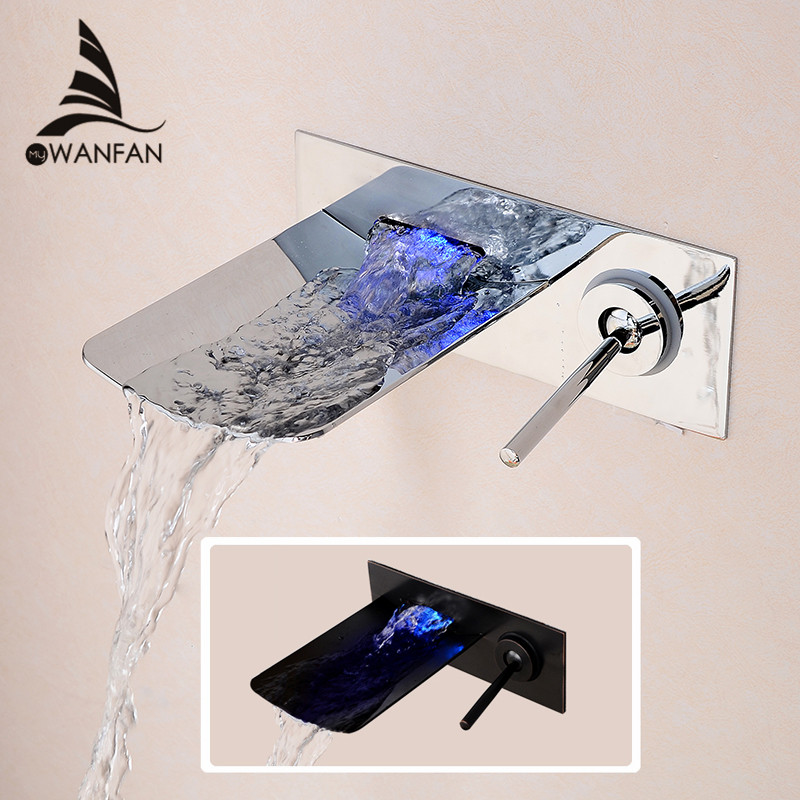 Led Bathroom Tap Faucet Temperature Color Changing LED Waterfall Wall Mount Bathroom Sink Faucet Free Shipping  LH-16813