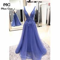 Elegant 2018 Blue Evening Dresses Long with Beaded Double Deep V Neck Sleeveless Formal Evening Party Dress Custom Made