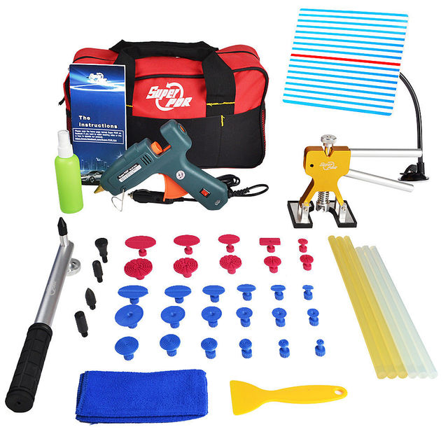 PDR Tools Set Paintless Dent Repair Car Dent Removal Hand Tool Set PDR Reflector Board Hot Melt Glue Sticks
