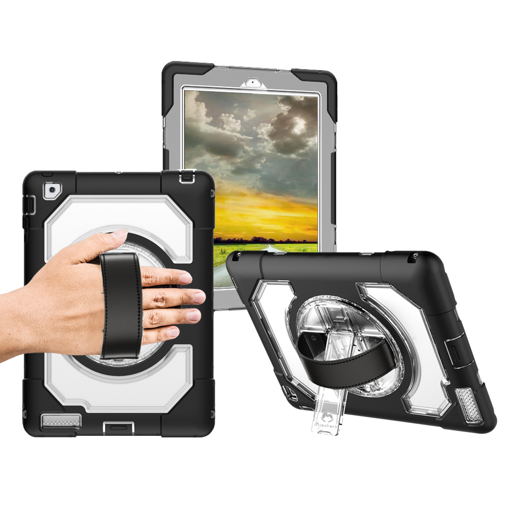 Miesherk Hot Sale Style Tablet Case for iPad 2/3/4 Heavy Duty Silicone Rugged Hybrid Cover Leather Hand Strap Kickstand Shell