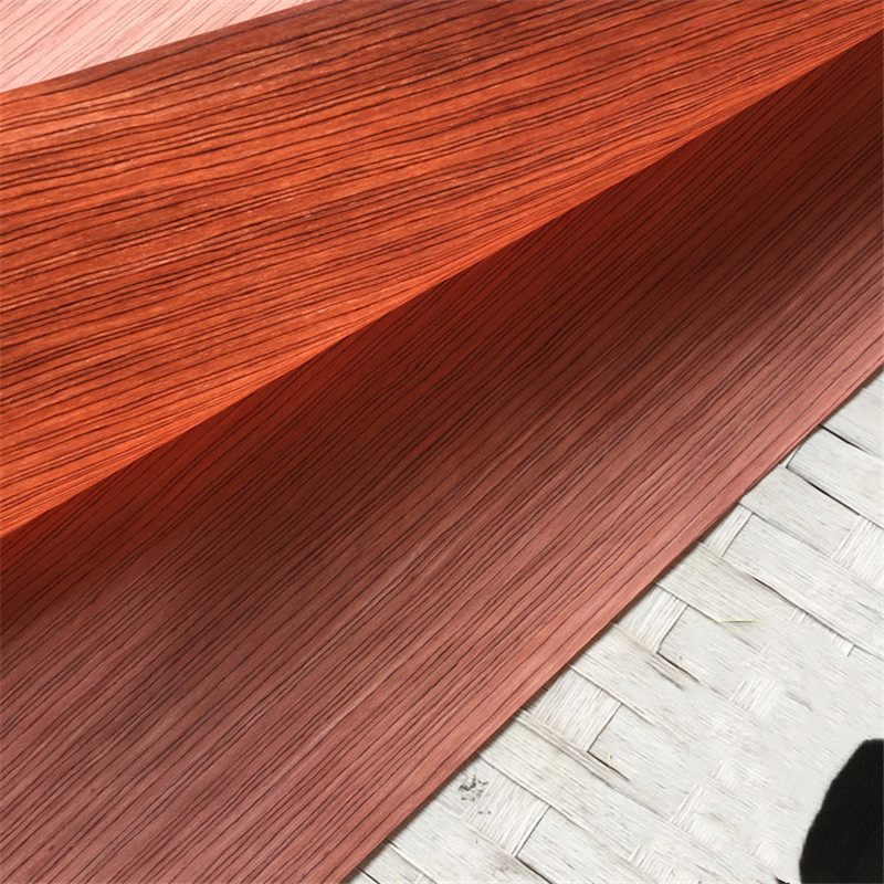 Technical Veneer Sliced Wood Engineering Veneer E.V. Red Rose Bubinga 64x250cm Tissue Backing 0.2mm Thick Q/C