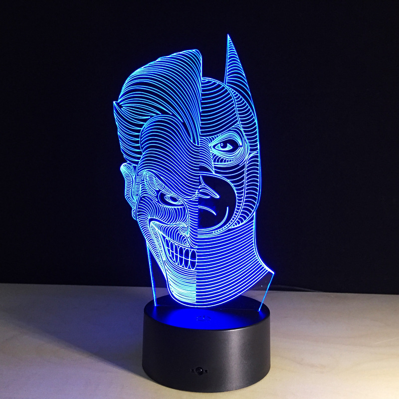 The Dark Knight Joker 3D Led table lamp flash toy 2016 New SuperHero TMNT Batman 7 color visual illusion LED lights led 5001 9w 450lux 3 led video lamp dark grey