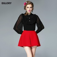 2017 Autumn Designer Runway Style Party Lace Women Allover Hollow Out Lace Embroidery Long Sleeve Dark