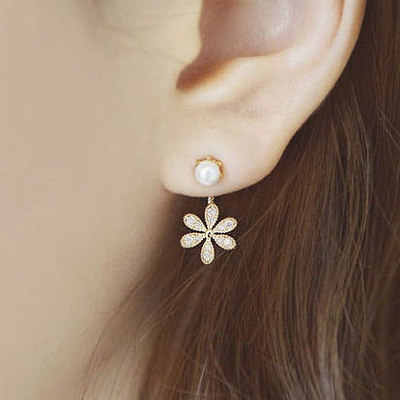 Free shipping gift New Fashion Big White Flower Earrings For Women 2017 Gold/Silver Jewelry Bijoux Elegant Gift
