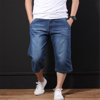 New 2019 Spring Summer Men's Fashion Jeans Short Casual Loose Straight Thin Elastic Cropped Trousers Plus Size 31 48 Ds50359