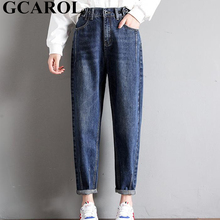 GCAROL 2018 New Collection Women Pencil Denim Pants High Waisted High Street Boyfriend Style Jeans In 3 Colors Plus Size 26-32 (China)