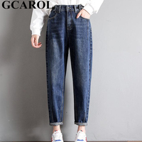 GCAROL 2018 New Collection Women Pencil Denim Pants High Waisted High Street Boyfriend Style   Jeans   In 3 Colors Plus Size 26-32