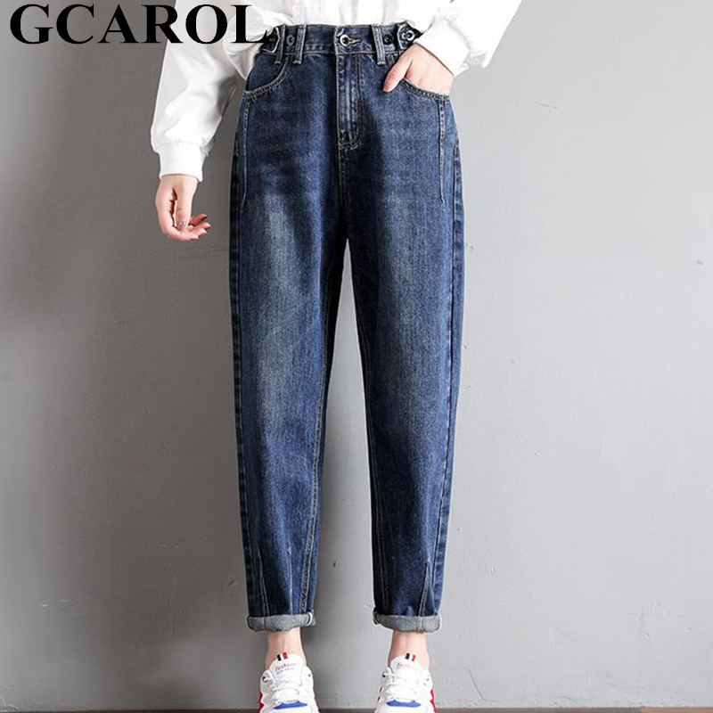 GCAROL New Women 93% Cotton Blends Pencil Denim Pants High Waisted High Street Boyfriend Style Jeans In 3 Colors Plus Size 26-32