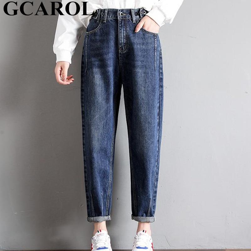 GCAROL New Women 93% Cotton Blends Pencil Denim Pants High Waisted High Street Boyfriend Style Jeans In 3 Colors Plus Size 26-32