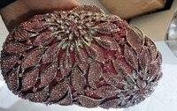 Chaliwini Luxury Wedding White Crystal Floral Diamond Clutch Bag Pink Bag Party Evening Shoulder Soiree Pochette Purse