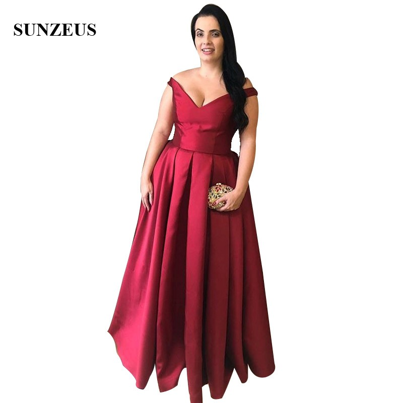 Wine Red Satin Mother Bride Dresses A-line V-neck Off Shoulder Women Long Formal Dress Simple Party Gowns Elegant