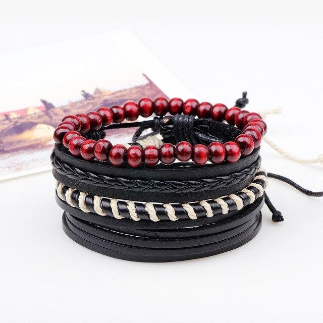 3,4,5pcs/set Series Boho Gypsy Hippie Punk Leather Wooden Beads Layers Bracelets 4