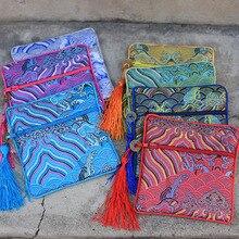 Маленькая Подарочная сумка на молнии для морской воды, Рождественская сумка для конфет, китайский Шелковый мешочек с кисточками, сумки для свадебной вечеринки, высококачественные женские сумочки для монет, 50p
