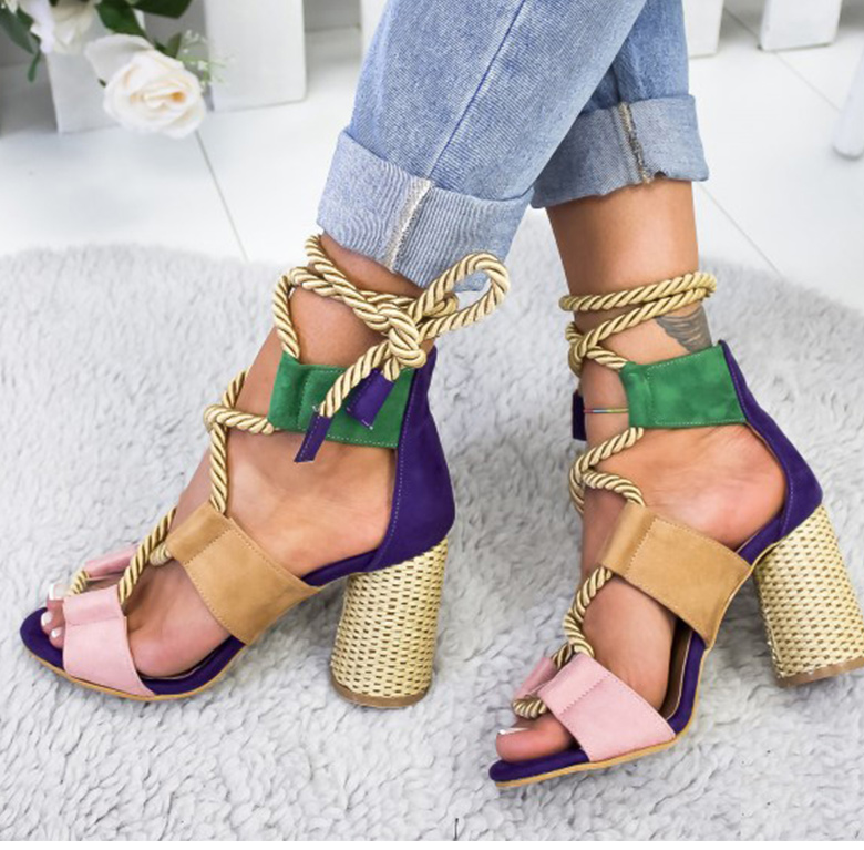 HTB1B35TaLWG3KVjSZPcq6zkbXXaZ Women Sandals 2019 Women Heels Shoes For Gladiator Sandals Women High Heels Summer Shoes Woman Lace Up Peep Toe Chaussures Femme
