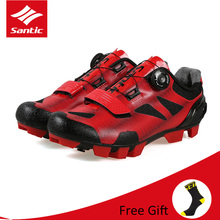 Santic Men Breathable Bicycle Cycling Shoes Professional MTB Mountain Bike Shoes Quick Dry PU Soft Elastic Lock Riding Shoes santic women cycling shoes mtb shoes mountain bike biking sneakers rotating lock matte pu chili color scarpe mtb non skip heel
