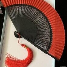 Китайский стиль резной древний стиль большой красный складной вентилятор черный Шелковый Танец полые бамбуковый вентилятор украшения ремесла