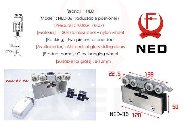 Online Shop Ned Adjustable Sliding Glass Door Rollershangers