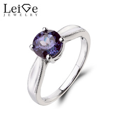 Leige Jewelry Solitaire Ring Lab Alexandrite Ring Promise Ring 925 Sterling Silver Ring June Birthstone Round Cut Gemstone Gifts