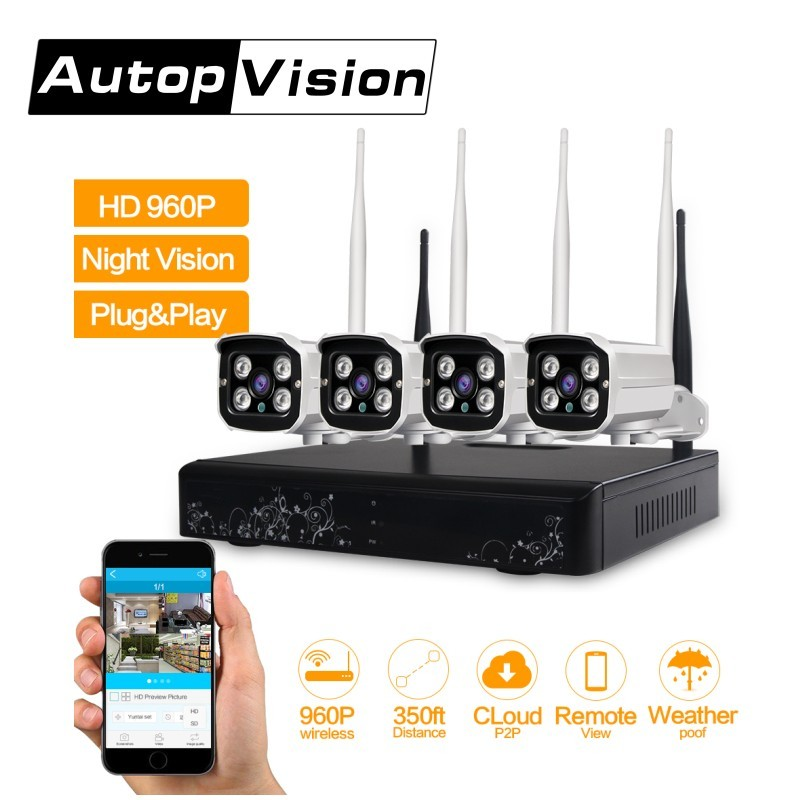4CH WIFI Security Camera System NVR Kit 960P HD wireless CCTV Outdoor IP Camera System Home Video Surveillance System 4ch nvr kits full hd wifi ip camera 720p wireless waterproof outdoor 4channel wifi nvr recorder hdmi onvif cctv camera system