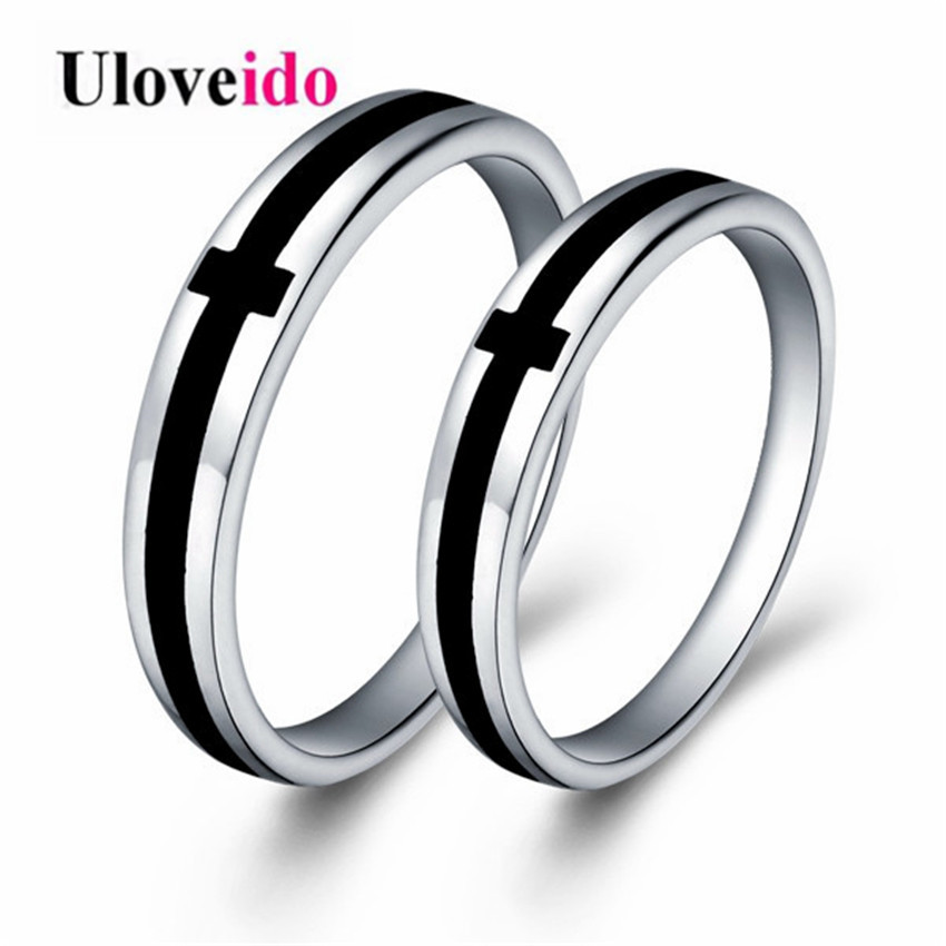 Uloveido Wedding Rings for Men and Women Silver Color White Black