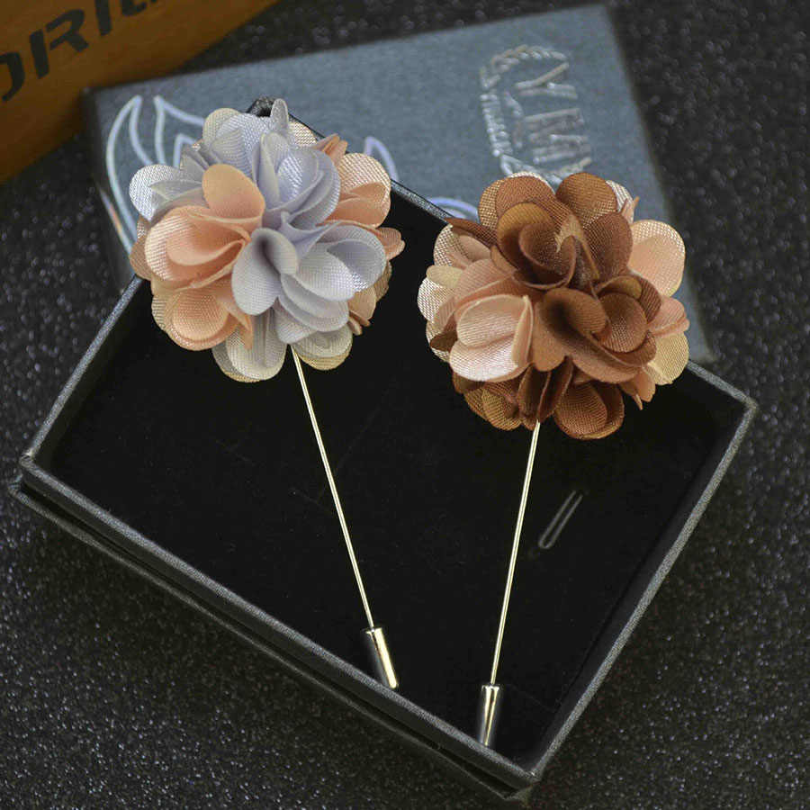Fashion Pria Pengantin Pria Buatan Tangan Jarum Panjang Bunga Bros untuk Wanita dan Pria Pernikahan Boutonniere Perapi Prom Pin Kemeja Perhiasan A117