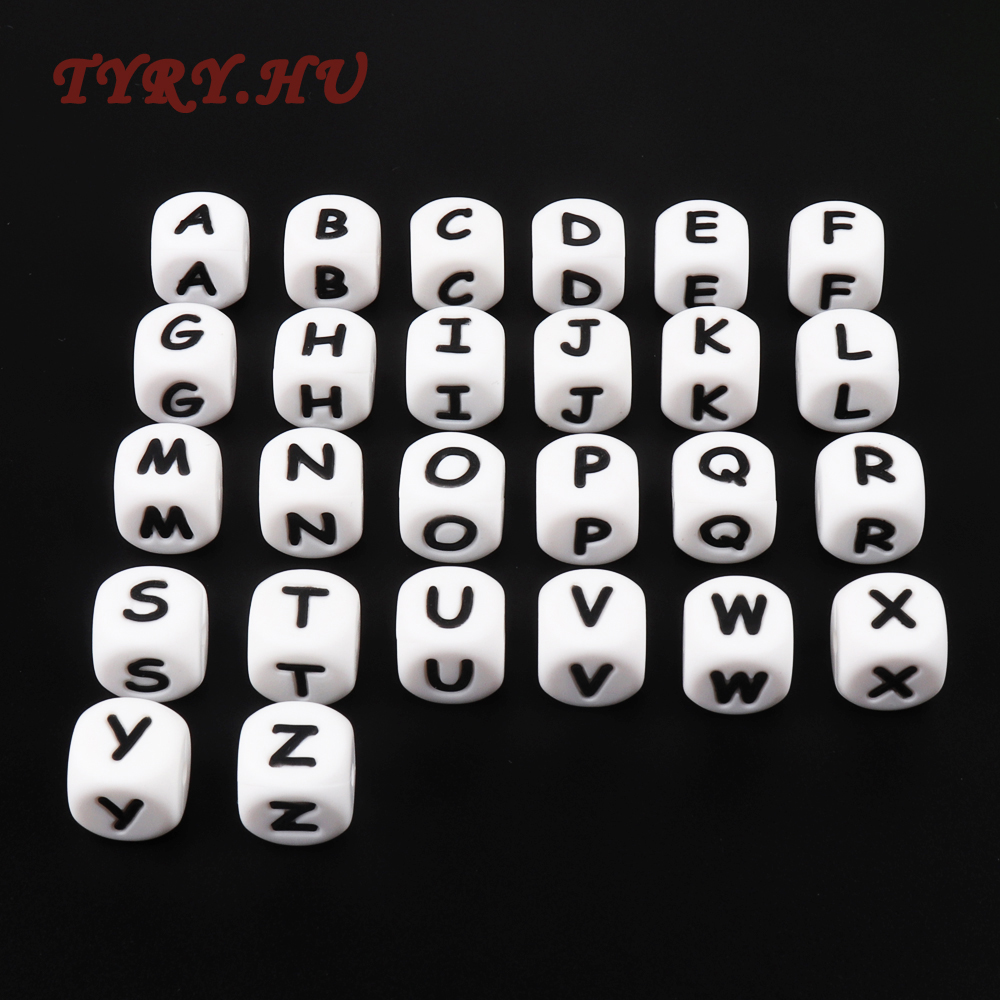 TYRY.HU 100pc Alphabet Silicone Chewing Beads For Teething Necklace Food Grade BPA Free Teether Letter DIY Baby Name Pendant 10pc cube silicone letter beads personalized name letter bracelet chewing alphabet beads food grade silicone 12mm
