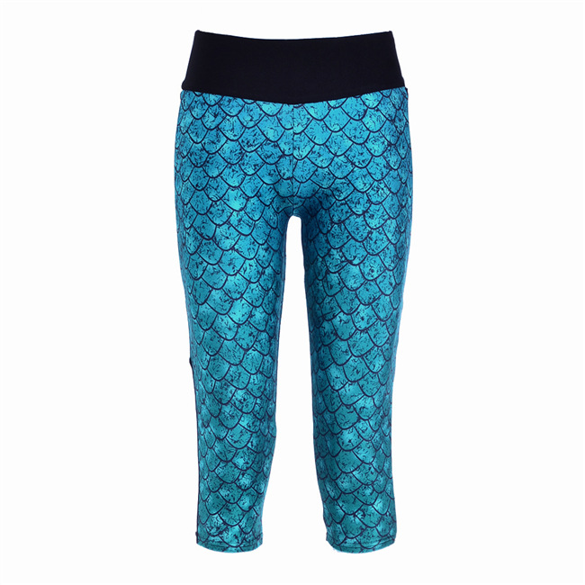 Women Summer Printed Mermaid Mesh Leggings Capris Elastic Slim Fitness Mid-calf Pants Workout Wear Fashion Legging Plus Size 4XL