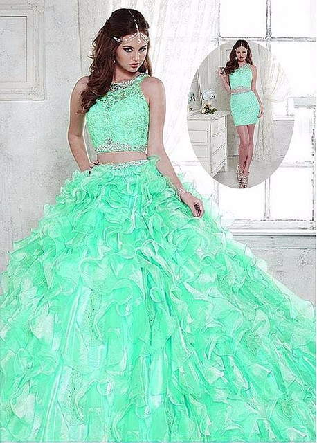 c180bc889ea New Arrival Sweet Dress For 15 16 Mint Blue Organza Two Piece Ball Gown  Quinceanera Dresses