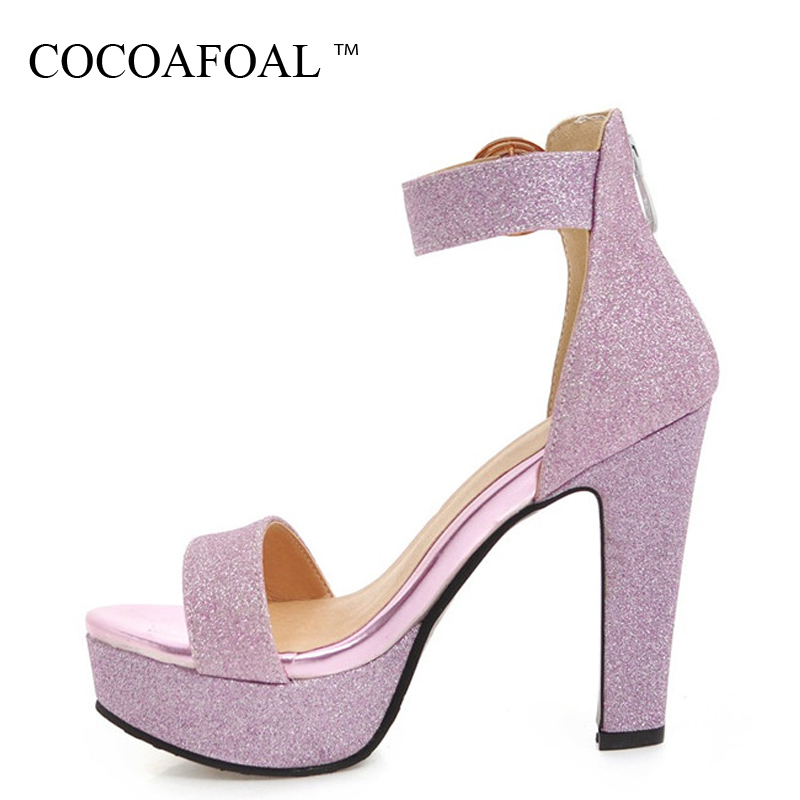 COCOAFOAL Women Purple Wedding Sandals Plus Size 32 - 43 Peep Toe Heel Height Sandals Party Buckle Strap Silver Gold Shoes 2018 bronze silver gold buckles shoes slippers sandals shoes strap laces clothing bag 8mm belts buckle clip 500pcs lot free shipping