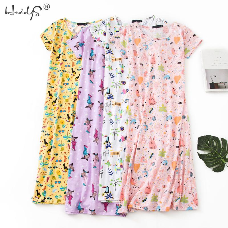 Cartoon Night Dress Women Sleepwear 100% Cotton Sleepshirts Ladies Nightwear Kawaii Nightgown Homewear Summer Home Dress Nightie