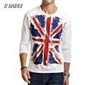 E-BAIHUI Brand 2016 autumn mens cotton fashion Union-Jack print T Shirt CT017