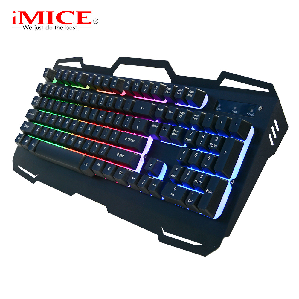 Gaming Keyboard Backlight Wired USB Gamer Keyboards Metal Panel Keyboard with Russian Sticker Mode for Desktop