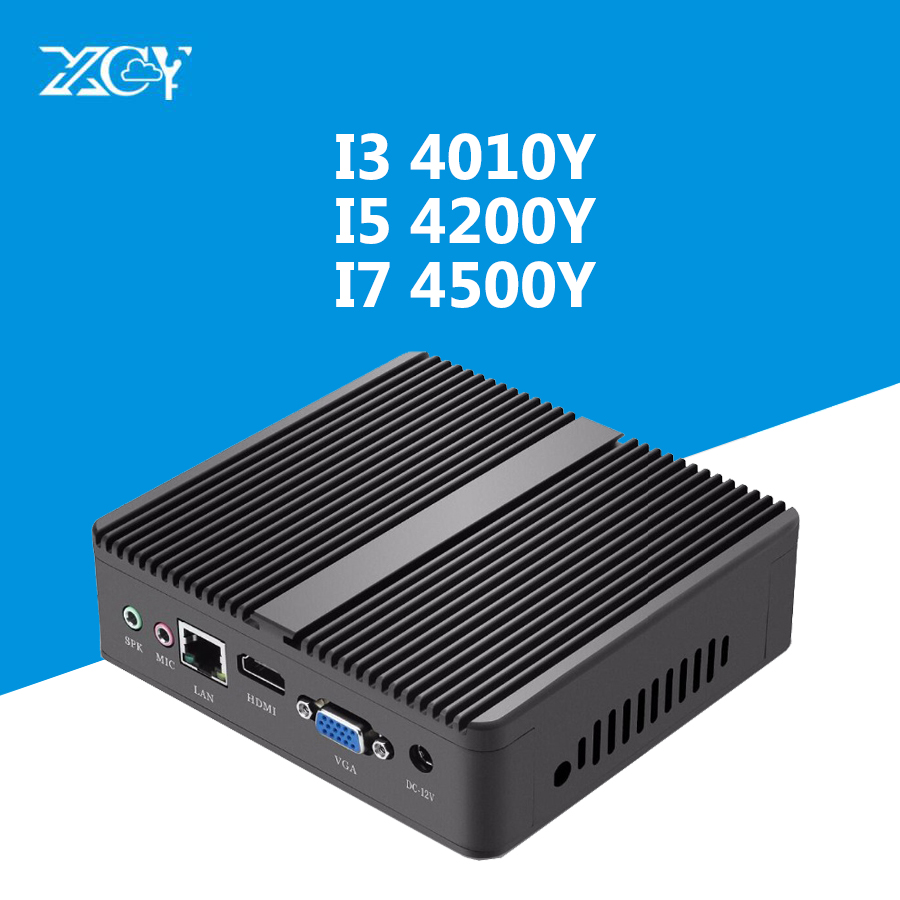 Mini PC Windows 10 Core I5-4200Y I3-4010Y Fanless Micro Computer HDMI VGA WiFi TV Box Desktop Gaming Office Household Usb Pc