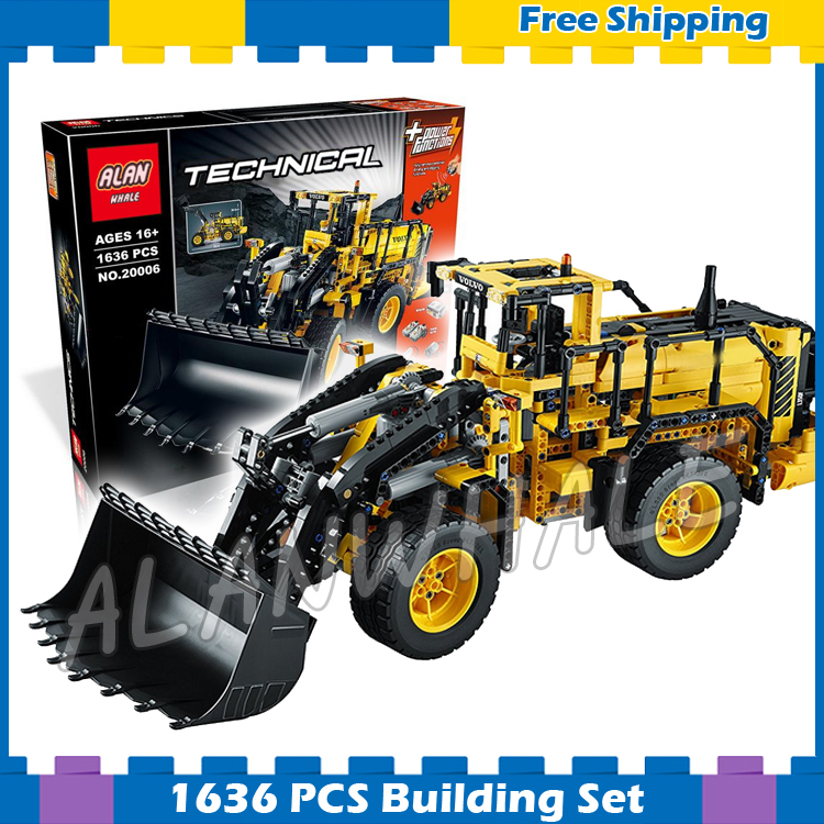 1636pcs 2in1 Techinic Remote Controlled Volvo L350F Wheel Loader 20006 DIY Model Building Blocks Set Bricks Compatible With lego 1401pcs 2in1 techinic motorized crawler