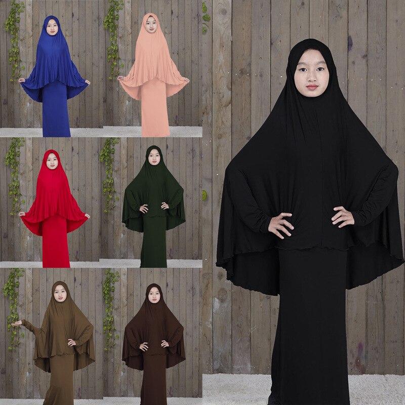 Традиционный хиджаб абайя для девочек, мусульманская молитва из двух частей, Детская однотонная свободная Большая одежда абайя