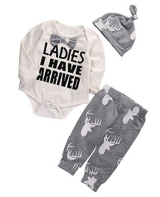 XMAS Stuff Infant Girl Boy Romper+Deer Pants Hat Gentlemen Baby Outfits Clothes Set Costume UK
