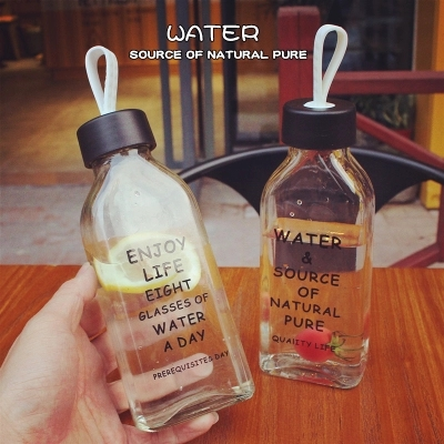 Creative alphabet flat bottles students carry ropes portable transparent glass readily available