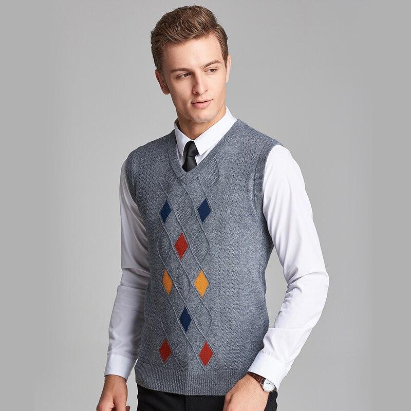 2016 Neue Ankunft Herbst & Winter Herren V-ausschnitt Formale Argyle Muster Kaschmir-pullover Weste