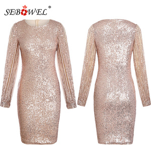 Image 4 - SEBOWEL Silver Hollow Out Long Sleeve Sequin Party Dress Women Sexy Metallic Glitter Bodycon Club Midi Dresses Sequined Gowns