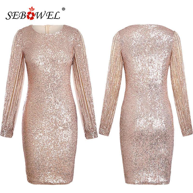 ... SEBOWEL Silver Hollow Out Long Sleeve Sequin Party Dress Women Sexy  Metallic Glitter Bodycon Club Midi ... 988802b2f11a