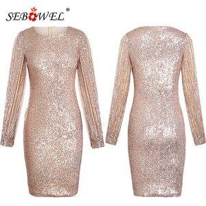 Image 4 - Sebohel robe de soirée à paillettes, manches longues, tenue Sexy, moulante, à paillettes métalliques, pour femme