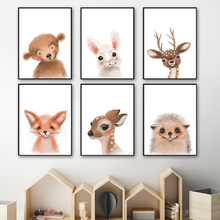 Deer Monkey Rabbit Fox Cat Nordic Canvas Posters And Prints Nursery Wall Art Canvas Painting Wall Pictures Baby Kids Room Decor цена и фото