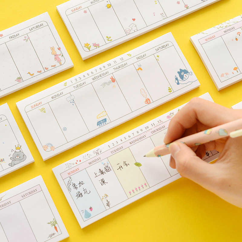 1pc 14*5cm Cute Weekly Plan Paper Sticky Note Stickers Memo Pad DIY Scrapbooking Post Notebook School Supplies Stationery Gif