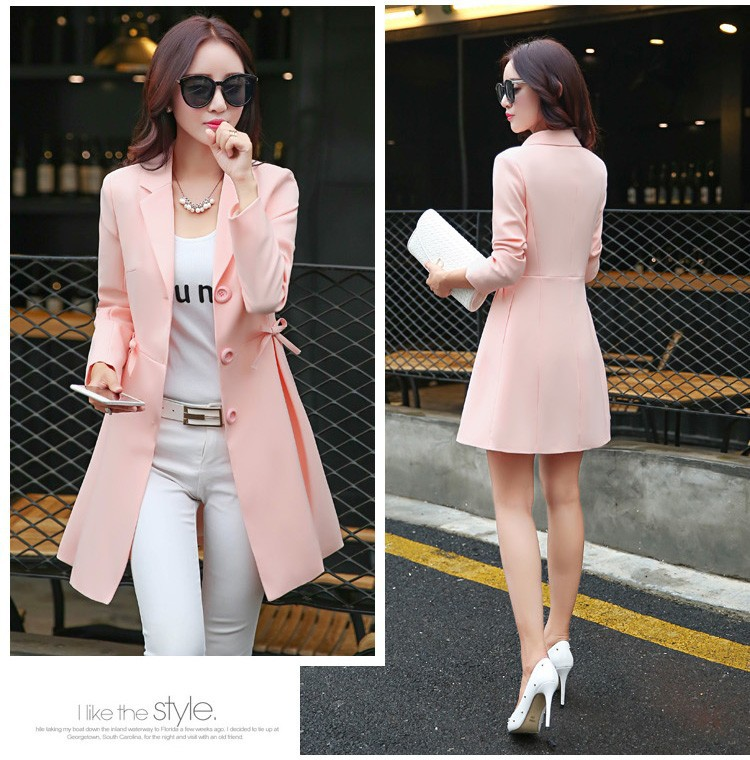 Super Pretty  Elegant Trench Coat Women Windbreaker Ladies Peplum Jacket Pink Grey Green Manteau Femme Silm Long Blazers bbbb