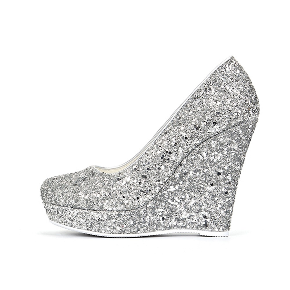 3ea178826e1 Themost Silver Glitter Wedge Heel Pumps Round Toe Platform Wedding Party  Dress Shoes for women