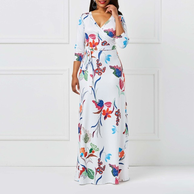 2018 Autumn Flower S Long Dress Bohemia White Fl Print Lace Up Travel Casual Boho