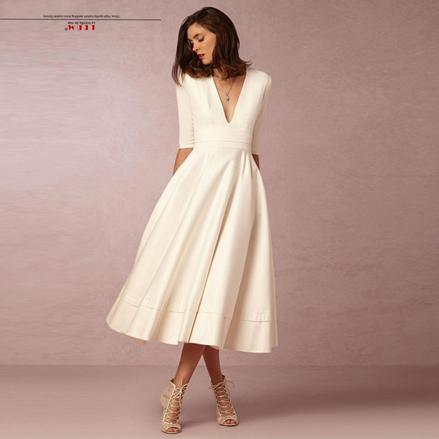 Robe demoiselle d honneur 2018 new satin 3 4 sleeve tea ivory bridesmaid dresses  plus size vestidos de madrinha c9f6078e4ac7