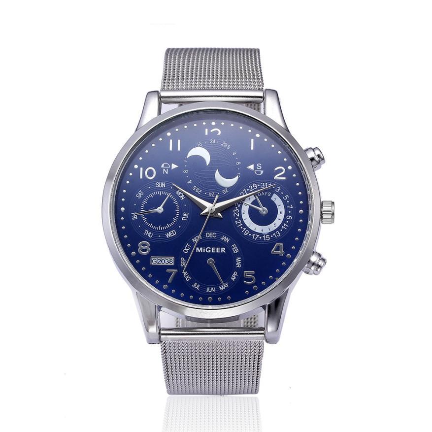 Men Watches Quartz 2018 Luxury Men's Business Watch Stainless Steel Mesh Band Analog Quartz Wristwatches Mens Clock Feb27